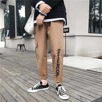 Men cargo pants 2020 new spring and autumn trend pockets letter hip hop male ankle-length pants Korean style hot sale n53