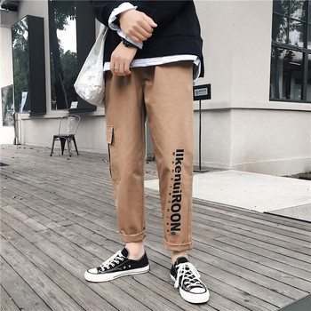 Men cargo pants 2020 new spring and autumn trend pockets letter hip hop male ankle-length pants Korean style hot sale n53 men cargo pants 2019 new arrival spring and autumn black pockets plus size male ankle length pants korean style hot sale n07