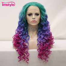 Imstyle Colorful Purple Green Wig Synthetic Lace Front Wig Heat Resistant Fiber