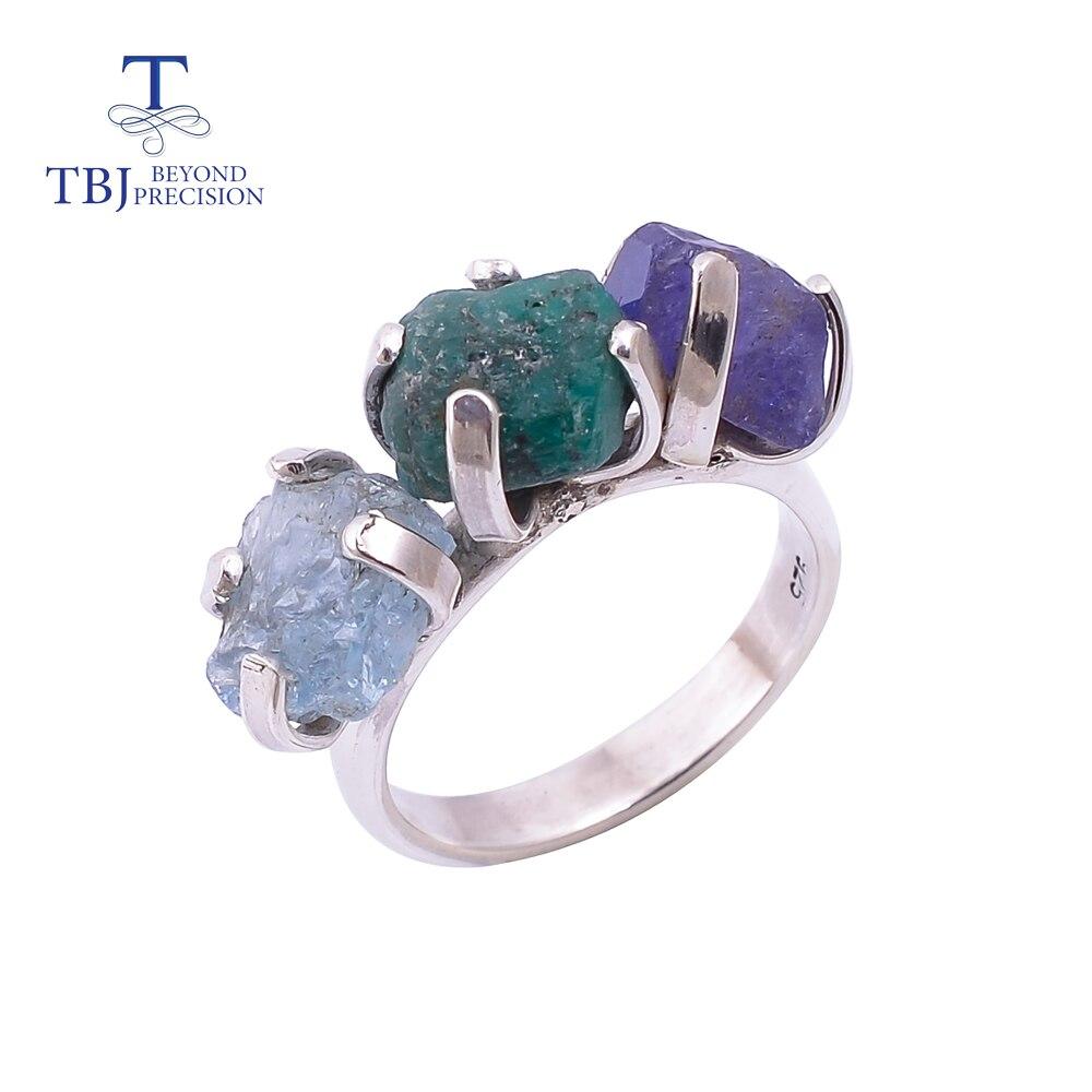 Unique Handmade Gemstone Rough Ring ,Nautral colorful gemstone opal aqumarine Tanzanite Ring 925 sterling silver fine jewelry
