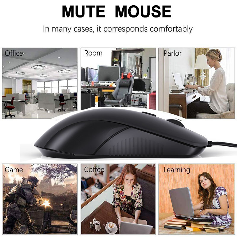 Aigo USB Mouse Optical Wired Mouse 1200/2400 DPI Computer Mouse 4-Button Silent Gaming Mouse for PC/Laptop/Computer/Desktop/Mac