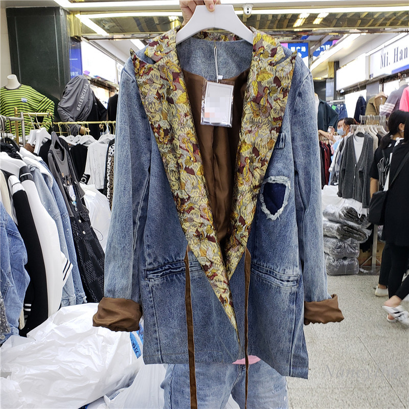 Loose Denim Blazer Coat Woman's 2020 Autumn New Clothes Lace Business Suit Collar Loose Temperament Lady Suit Jacket Overcoat