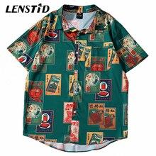 LENSTID 2020 hombres Hip Hop Vintage cigarrillo estampado camisa hawaiana Streetwear Harajuku camisa de playa de manga corta de verano Camisetas Aloha
