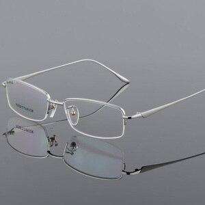 Image 2 - New Semi Rim Pure Titanium Eyeglasses Frame for Men Optical Glasses Frame Prescription Half rim Eyewear Business Spectacles