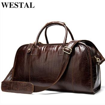 WESTAL męskie torby podróżne oryginalne skórzane walizki i torby podróżne torby podróżne bagaż podręczny torby weekendowe worek marynarski 1098 tanie i dobre opinie Prawdziwej skóry Skóra bydlęca zipper Wszechstronny 16cm Stałe 1 65kg ZM1098 SOFT 48cm Moda cowhide genuine leather