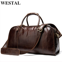 WESTAL suitcases and travel bags for men's bag genuine leather travel bags hand luggage leather duffle bag carry on luggage 1098