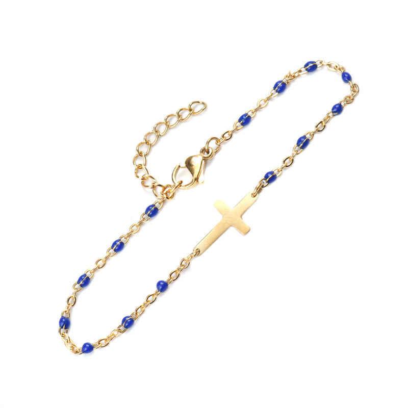 1 PC In Acciaio Inox di Moda Cavo di Collegamento della Catena Croce D'oro Dello Smalto Pendenti e Ciondoli Braccialetto JewelryFor Donne Regali Degli Uomini di 18 centimetri lungo