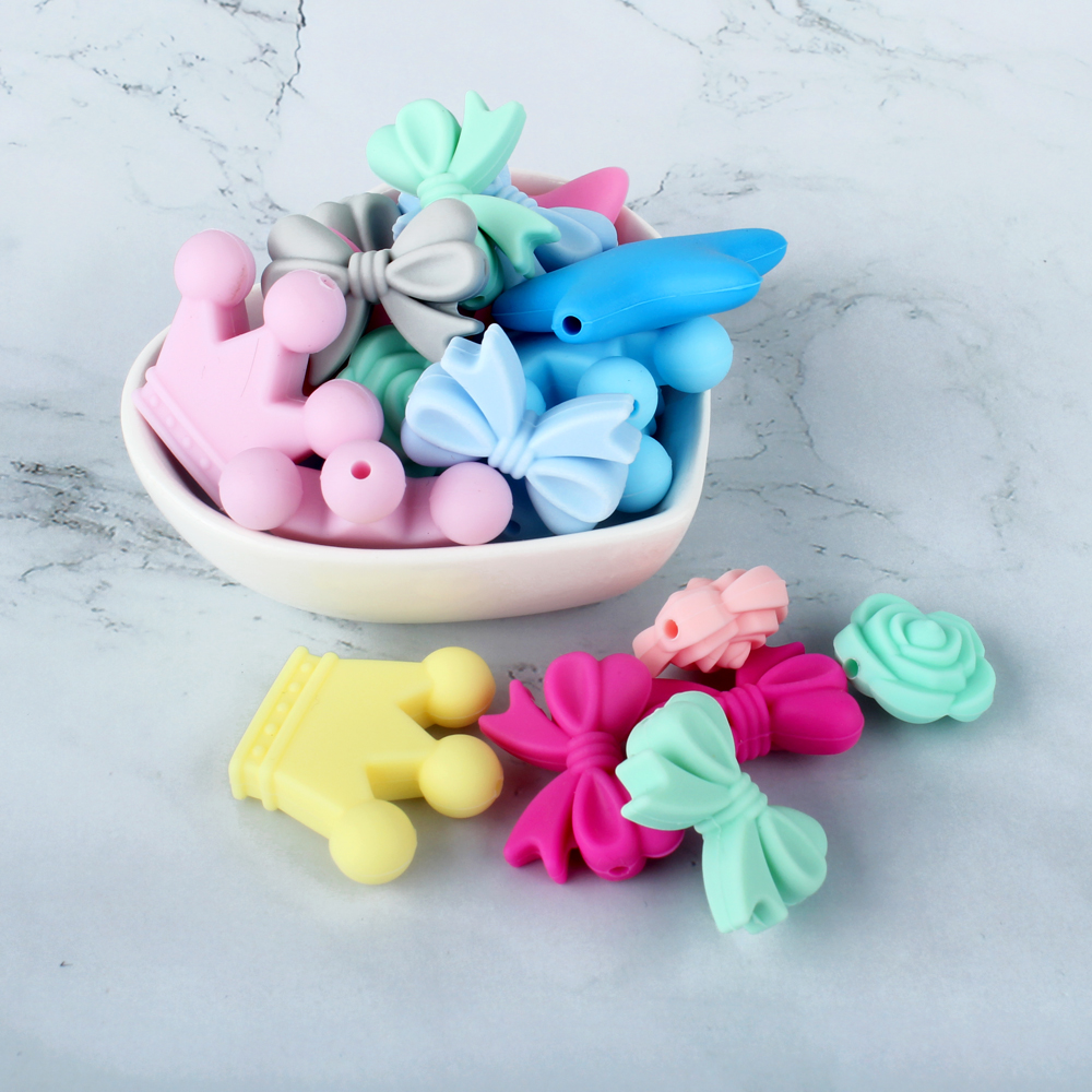 Keep&Grow 10pcs Star Silicone Beads Rodent Silicone Baby Teethers Teething Toys DIY Chews Beads Bow Pearl Silicone Baby Products