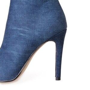 Image 4 - Seksi çizmeler kadın uyluk yüksek çizmeler diz üzerinde yüksek şişeler Peep Toe pompaları delik mavi topuklu fermuar Denim kot ayakkabı Botas Mujer