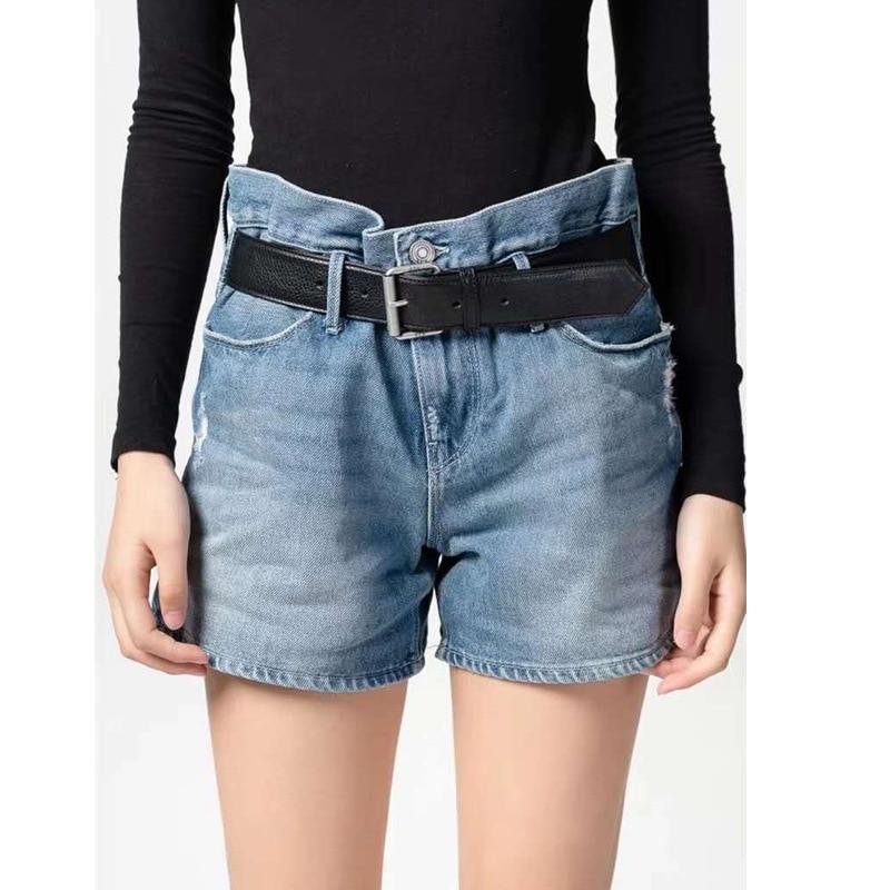 Non-mainstream Design-Summer New Style Belt Industrial Washing Retro Frayed High-waisted WOMEN'S Denim Shorts Fashion