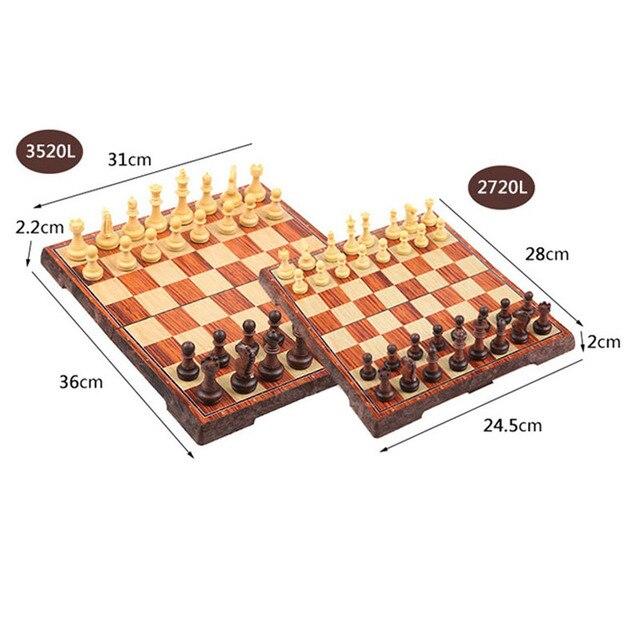 Jeu d'échecs magnétique de 4 tailles avec échiquier pliant en bois, jeu de voyage Portable pour enfants et adultes 6