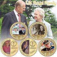 Sua majestade rainha elizabeth ii moeda comemorativa de ouro reino unido família real príncipe philip lembrança medalha desafio moeda presentes para ela