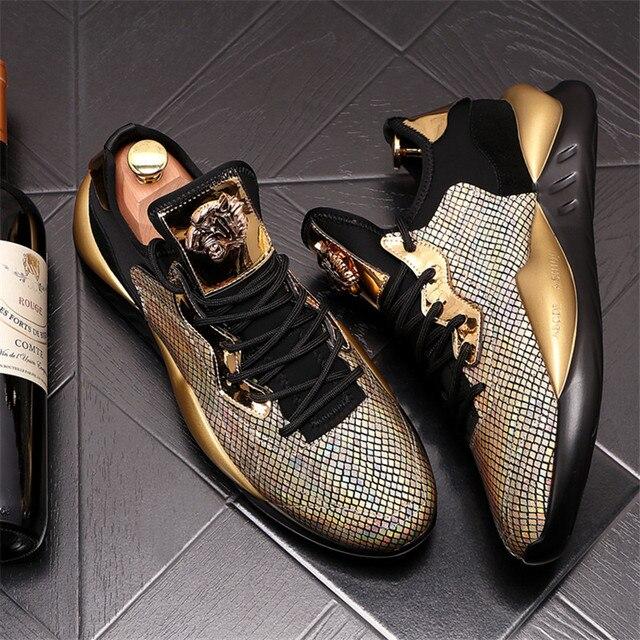 Zapatos informales con plataforma para Hombre, Zapatillas de deporte de cuero, con aumento de altura, estilo Hip hop, color dorado y plateado 1