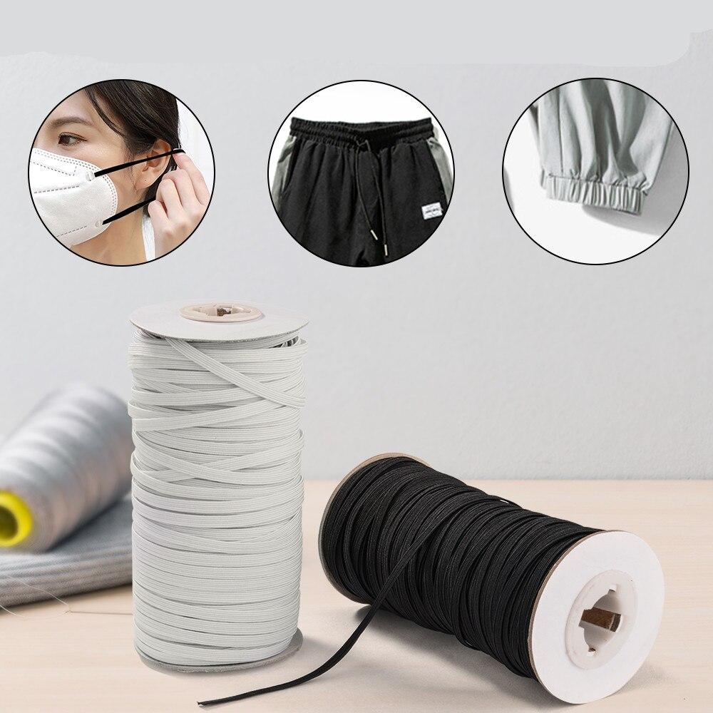 5 inch Ear Tie Rope Handmade DIY String for Sewing Elastic Strap White Earloop Cord 1//4 30yard