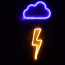 Neon Sign Battery/USB Operated Clouds Lightning Neon Lights for Christmas Childrens Room Party Holiday Gift Bedroom Store Decor
