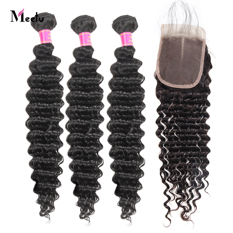 Meetu Malaysian Deep Wave Bundles With Closure Non Remy Human Hair Bundles With Lace Closure 3 Bundles With Closure Tangle Free