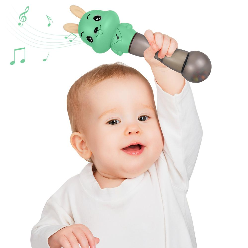 Tumama Baby Musical Rattles Newborns Sand Hammers Educational <font><b>Toys</b></font> <font><b>Soft</b></font> Ears Teether <font><b>Toys</b></font> Flashing Shaking Rattle Hand Bells image