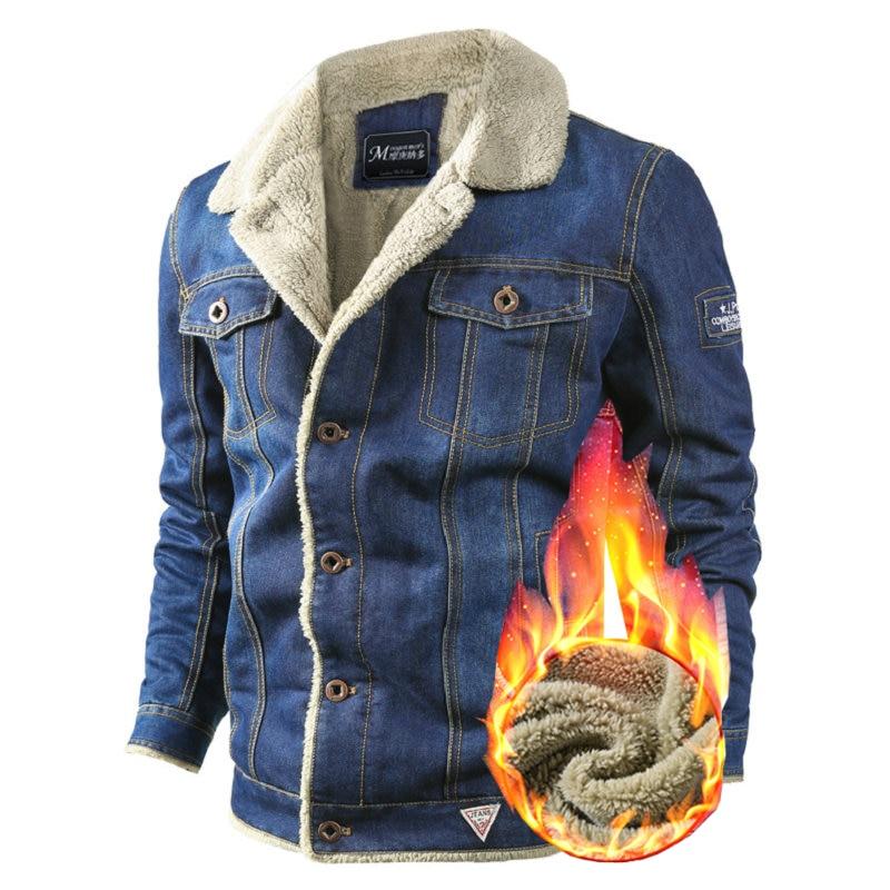 Brand Mens Embroidery Denim Jacket Winter Warm Military Uniform Jeans Jacket Men's Large Size Wool Lining Thicken Denim Jacket