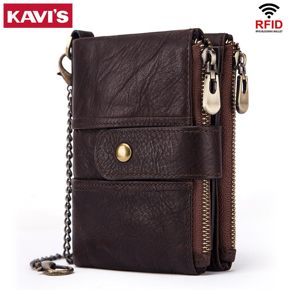 KAVIS 100% Genuine Leather Rfid Wallet Men Crazy Horse Wallets Coin Purse Short Male Money Bag Quality Designer Mini Walet Small