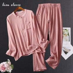 Vêtements de nuit en fil de coton pour femmes, ensembles pyjama lavé à l'eau, costumes de nuit pour femmes, manches longues, fil de crêpe, vêtements de maison
