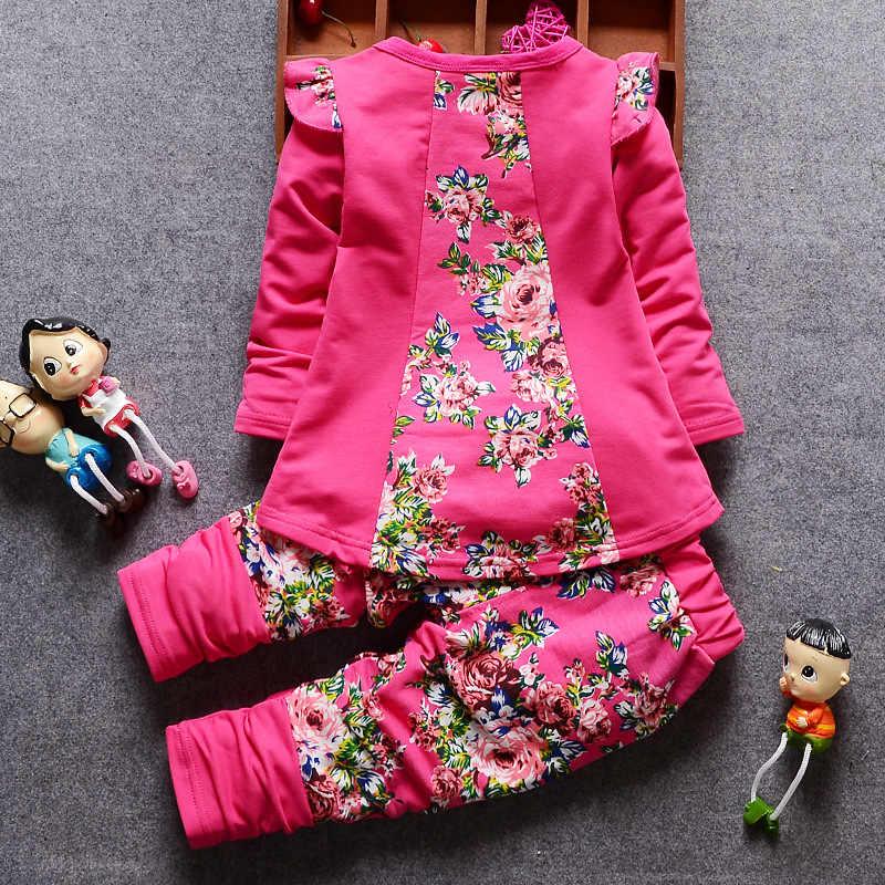 Neue mode baby mädchen kleidung lässig zwei-stück baby mädchen kleidung lange-ärmeln T-shirt cartoon nette blume drucken baby mädchen anzug