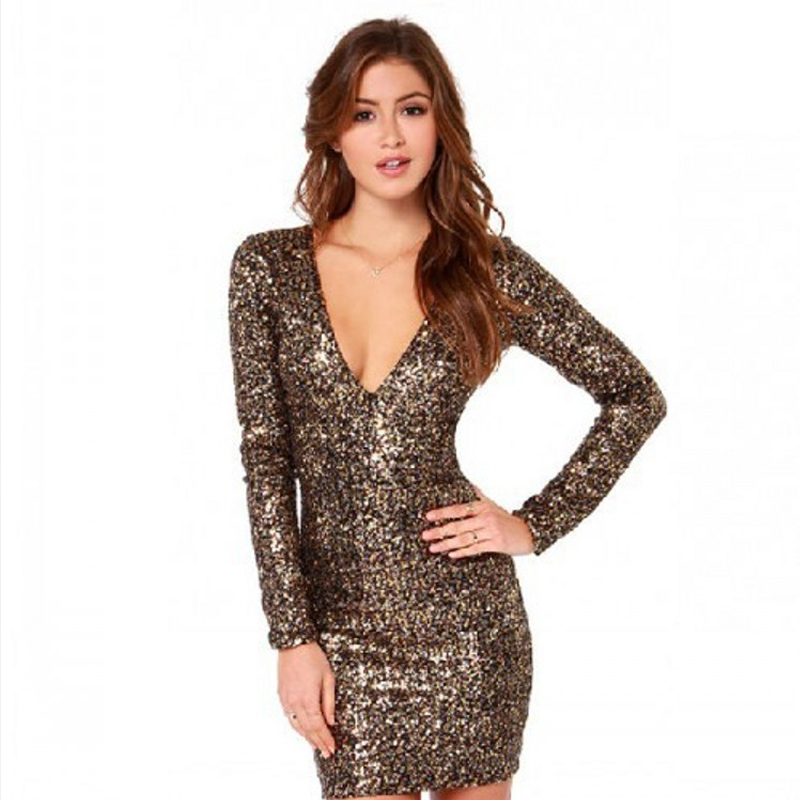 Luxurious Sheath Long Sleeves Mini Gold Sequined Party Dress Sexy V Neck Bodycon Nightclub Glitter Women Fashion Clothing