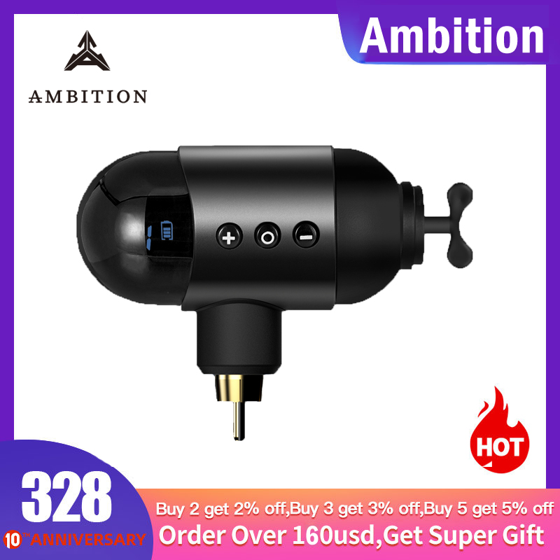 Ambition wireless battery tattoo power supply DC RCA AUDIO jack for <font><b>tatoo</b></font> machine <font><b>Pen</b></font> <font><b>eyebrow</b></font> tool 1650mah tattoo power unit image