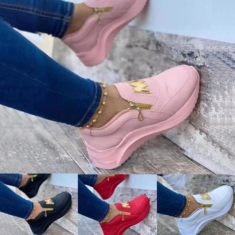 Ladies Zipper Sneakers women sneakers Party Platform Sneakers Ladies Fashion PU Shoes