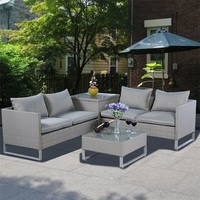 4 Pcs Rattan Patio Sofa Cushioned Seat Gray Garden Wicker Sets Weather proof Deck Pool Side Backyard Outdoor Furniture HW51571+