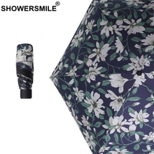 SHOWERSMILE Ladies Mini Umbrella Pocket Woman Small Parasol Uv Protection Flower Print Five-Folding Female Travel Umbrellas