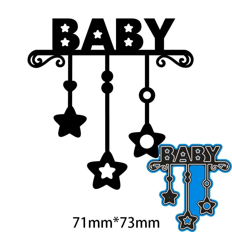 71*73mm estrelas e letra do bebê metal corte de aço dados diy scrapbooking álbum de fotos gravando cartões de papel