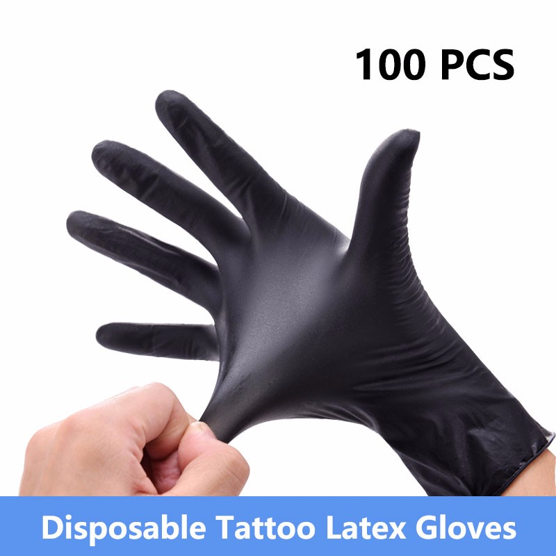 100Pcs/Box Tattoo Gloves Disposable Waterproof Tattoo Supplies Gloves Machine Kits Fingers Protector Latex Non-toxic Accessories