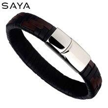 Мужские кожаные браслеты с гравировкой черные и темно коричневые