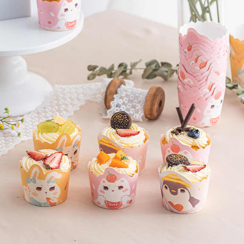 50pcs Cartoon Muffin Cup Cake Liner Cases Holder Baking Decor  High Temperature