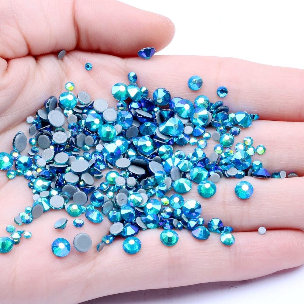 Ss6, ss10,ss16,ss20,ss30 Синий Циркон AB кристаллы стекло горячей фиксации стразы s,DMC с плоской задней железной стороной Стразы для одежды