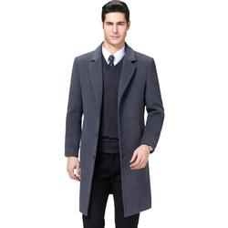 KUYOMENS Men Trench Coat Men's Wool Coat Warm Solid Color Long Trench Jacket Male Single Breasted Business Casual Overcoat Parka