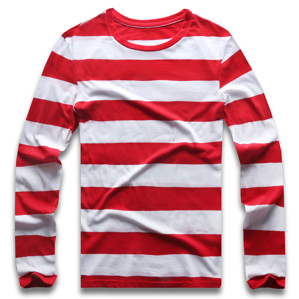 Red White Striped Long Sleeve T Shirts Tees For Men Round Neck Colorful Black White Stripes Men Casual