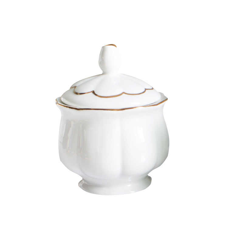 Moderne Mode Klumpen Zucker Schüssel Mit Deckel Milch Krug Knochen China Familie Café Café Set Gold Linie Sauce Creamer topf Candy Jar