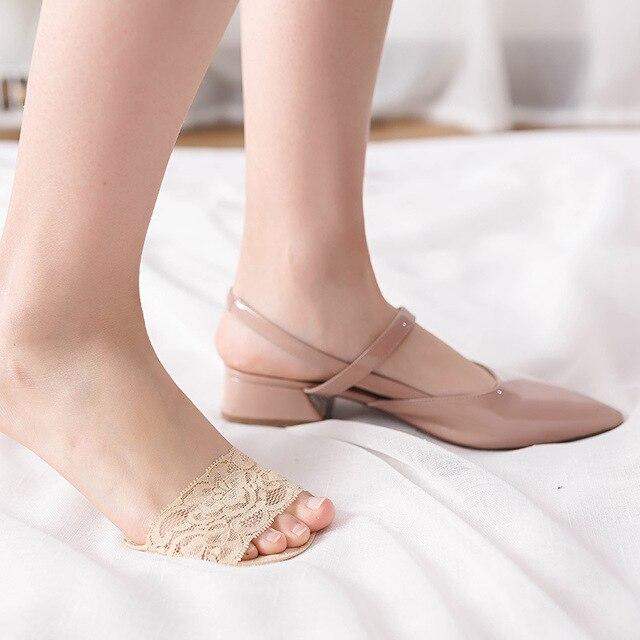 2 çift kadın yüksek topuk dantel ayak çorap Sünger Silikon kaymaz Açık Ayak Görünmez Ön Ayak Yastık Ayak ped yüksek topuklu Astarı