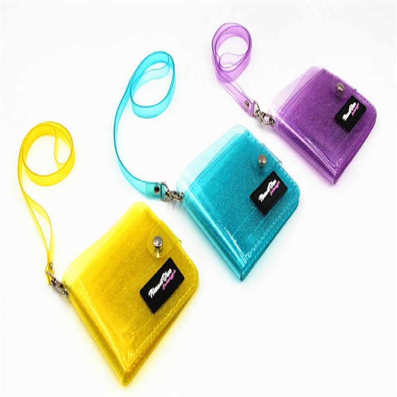 1PC Mode Folding PVC Brieftasche Transparent Kurzen ID Karte Halter Frauen Mädchen Glitter Laser Geldbörse Business Lanyard Foto Karten fall