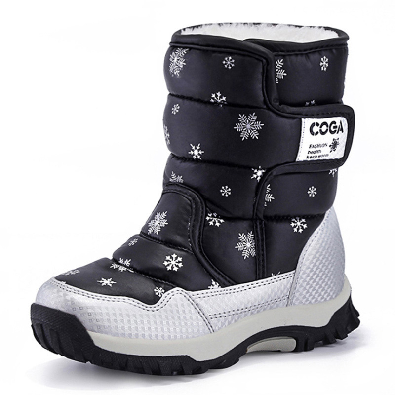 Winter Shoes Boys Girls Boots Warm Plush Kids Boots Outdoor Waterproof Snow Boots Children Casual Shoes Mid-Calf Bota Infantil