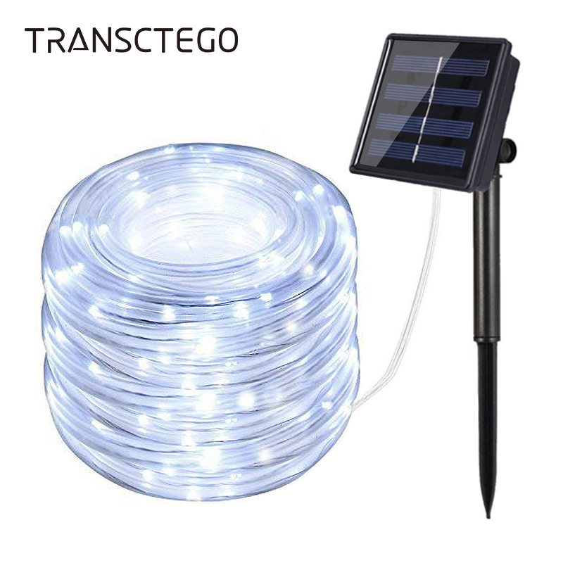 LED Solar Garden Lights Rope String Lights Outdoor Solar Powered Strip Christmas Fairy Light Party Decoration  Lamp Waterproof