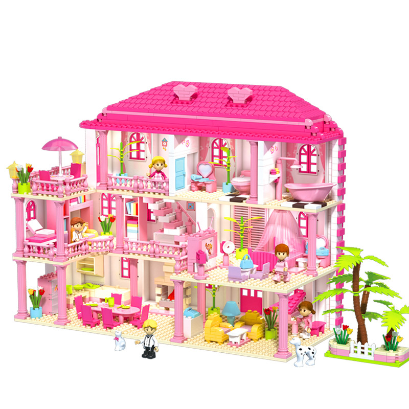 <font><b>1000pcs</b></font> Kids DIY Building Blocks Three Story Villa Princess Castle Blocks Compatible <font><b>LegoINGlys</b></font> Bricks Children Girl Toys Gifts image