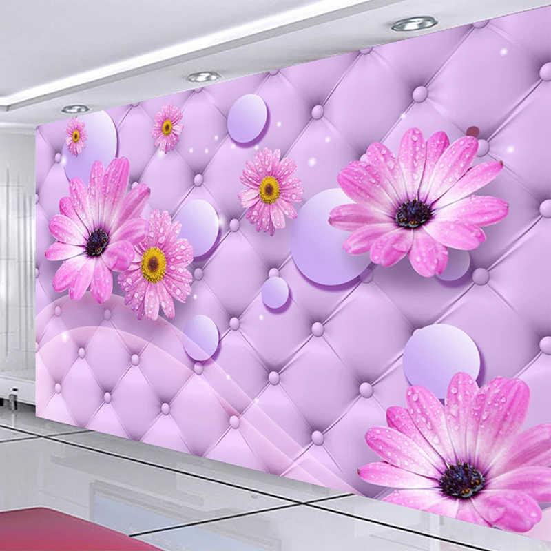 Kustom Lukisan Dinding Wallpaper 3d Ungu Bunga Matahari Lembut Roll Lukisan Dinding Rumah Pernikahan Ruang Tamu Romantis Dekorasi Rumah 3d Kertas Dinding Wallpaper Aliexpress