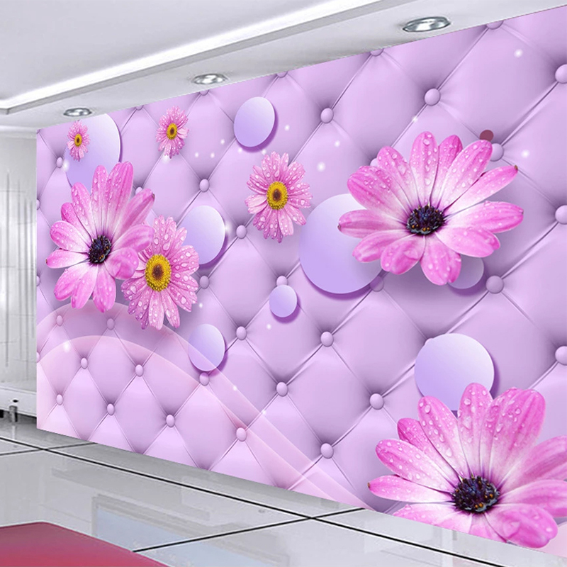 Custom Mural Wallpaper 3D Purple Sunflower Soft Roll Wall Painting Wedding House Living Room Romantic Home Decor 3D Wall Papers