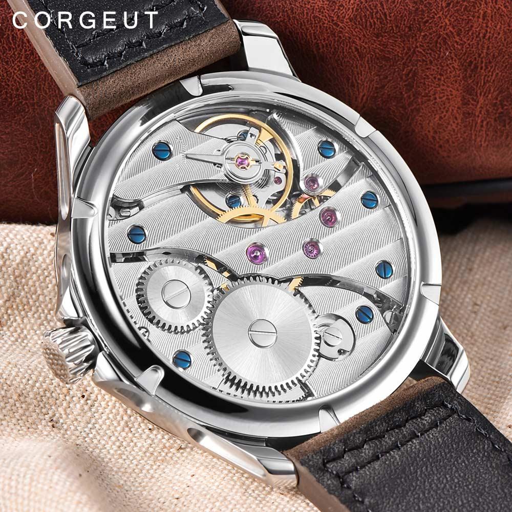 Corgeut Для мужчин мужской военный армейский Спорт часы классические роскошные 17 Jewels Чайка 6497 механическая ручная намотка светящиеся наручные... - 6