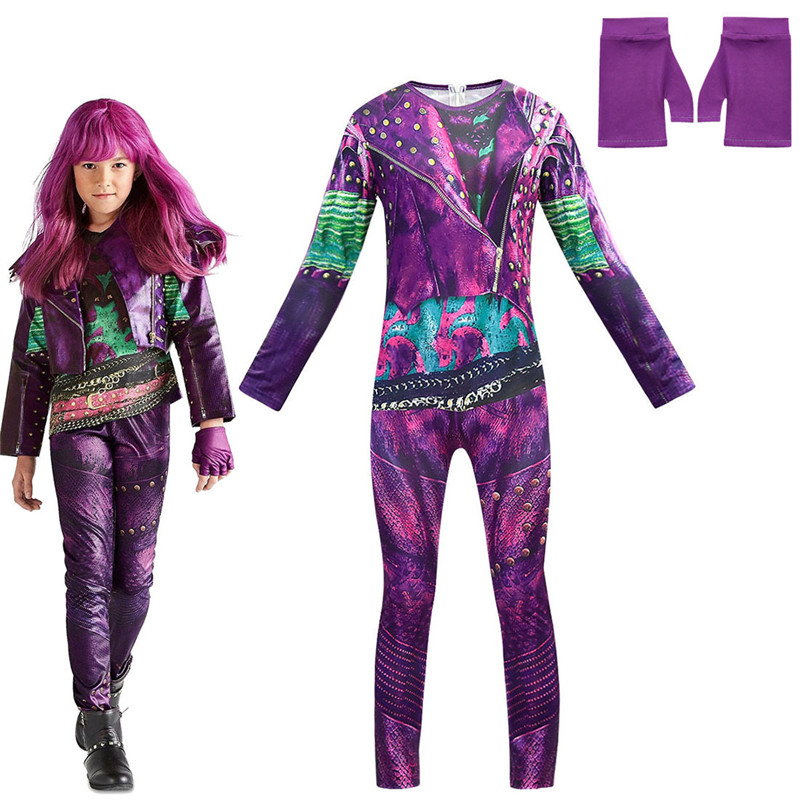 Halloween Descendants 3 Girl Costumes Child Costumes For Kids Girls Costume Halloween Evie Cosplay Jumpsuits Girls