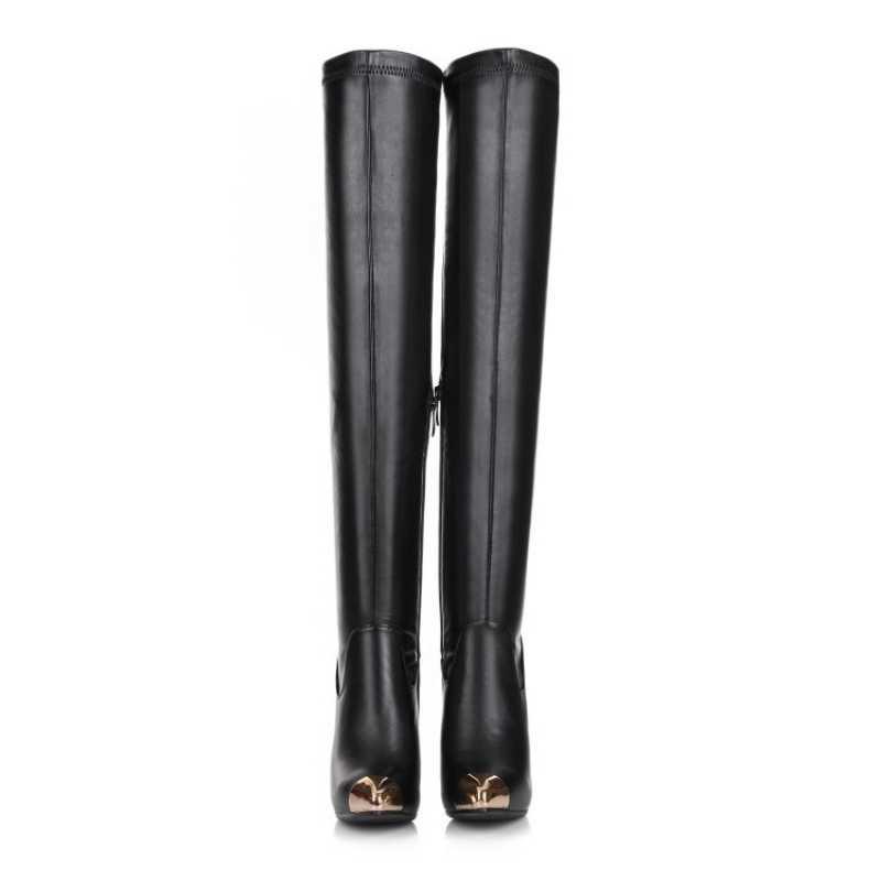 2020 Nieuwe Lange Laarzen Vrouwen Echt Koe Lederen Stretch Over De Knie Laarzen Sexy Metalen Puntige Teen Hoge Hakken Laarzen femme Zwart