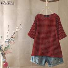 2020 Women O Neck Blouse ZANZEA Summer Vintage Check Shirt Casual Short Sleeve Plaid Party Tunic Tops Blusas Female Chemise Robe