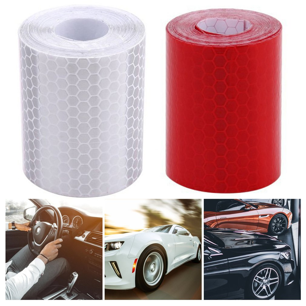 Купить с кэшбэком 5cm*3m Safety Mark Reflective Tape Stickers Car-styling Self Adhesive Warning Tape Automobiles Motorcycle Reflective Film.